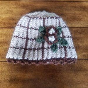 Accessories - Knit brown flower hat